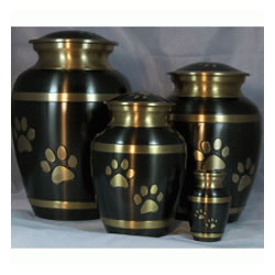 Pet Urns by HTW - Urns for pets, dogs, cats, loss, death, jewelry, ashes, retail, wholesale, minnesota, united states, vet clinic, veterinarian, family pets, Black Pewter with Brushed Bronze Paws and Bands Pet Urn
