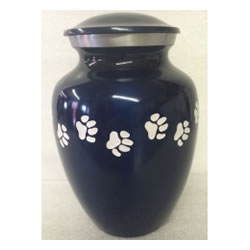 Pet Urns by HTW - Urns for pets, dogs, cats, loss, death, jewelry, ashes, retail, wholesale, minnesota, united states, vet clinic, veterinarian, family pets, Blue Pet Urn with White Paws Pet Urn