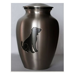 Pet Urns by HTW - Urns for pets, dogs, cats, loss, death, jewelry, ashes, retail, wholesale, minnesota, united states, vet clinic, veterinarian, family pets, Pewter, Slate, Dog Silhouette Pet Urn
