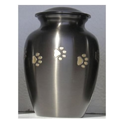 Pet Urns by HTW - Urns for pets, dogs, cats, loss, death, jewelry, ashes, retail, wholesale, minnesota, united states, vet clinic, veterinarian, family pets, Pewter, Slate, Horizontal Paw Print Pet Urn