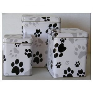 Pet Urns by HTW - Urns for pets, dogs, cats, loss, death, jewelry, ashes, retail, wholesale, minnesota, united states, vet clinic, veterinarian, family pets, Paw Print Tin Pet Urns