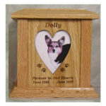 Pet Urns by HTW - Urns for pets, dogs, cats, loss, death, jewelry, ashes, retail, wholesale, minnesota, united states, vet clinic, veterinarian, family pets - SP Series Tower Photo Engraved Image Wood Pet Urns